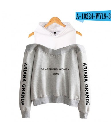 2018 NEW Ariana Grande fashion Sweatshirts Women Sleeve Off-Shoulder Exclusive Women Album sala hot autumn Hoodies - grey - ...