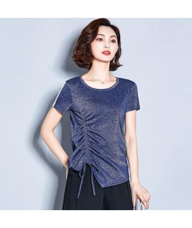 Shiny Lurex T Shirt Women Cotton Summer Drawstring T-Shirt Casual Tops Tee Women Short Sleeve Female White Black Red Tees - ...