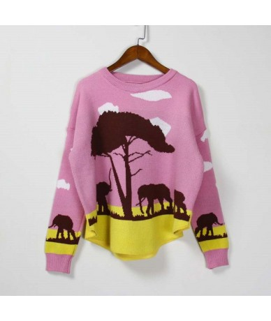 New Fashion 2019 Women Autumn Winter Embroidery Animal Cartoon Sweater Pullovers Casual Female Knitted Sweaters Pullover Lad...