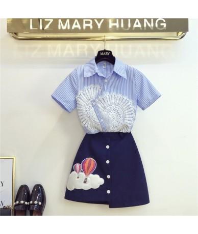 Women Striped Irregular Shirts Skirts Sets Short Sleeve lace Pearls Shirt Mini Skirt 2PCS Suits for Woman - Blue - 414113671550