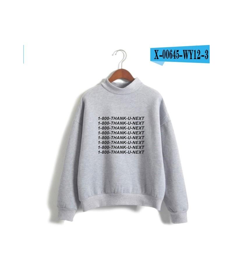 Ariana Grande Loose Turtleneck Hoodies Women Fashion 1-800 Thank U Next New Album Hip-Hop Pullover Sweatshirt Moleton - Gray...