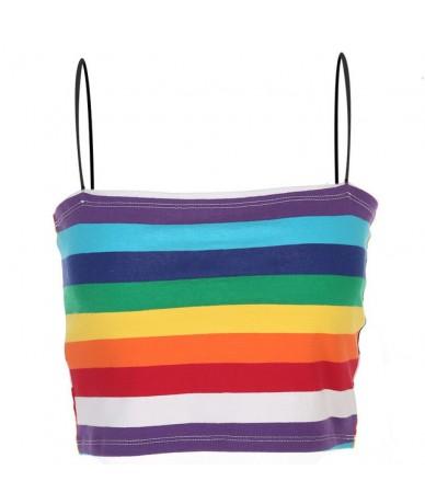 2019 summer Ladies Rainbow Stripe Printing Gradual Change Color Camisole Vest Nightclub Rendering crop top bustier - Rainbow...
