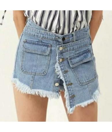 Summer Fashion High Waist Skirts Womens Pockets Button Denim Skirt Female Saias 2018 New Casual Jeans Shorts - Light Blue - ...