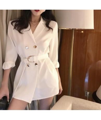 Casual Women Tie Waist Blazer Jacket Notched Collar Double Breasted Female Suit Coat Fashion Outerwear blaser femme Jacket -...