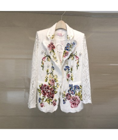 2018 spring and summer cross embroidered flowers lace long-sleeved lapel small suit revealing fashion jacket - White - 4Q397...