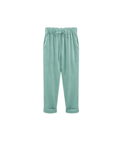 Spring/summer 2019 loose cotton and linen broad leg harem pants women's casual cargo pants in a large confectionery color - ...