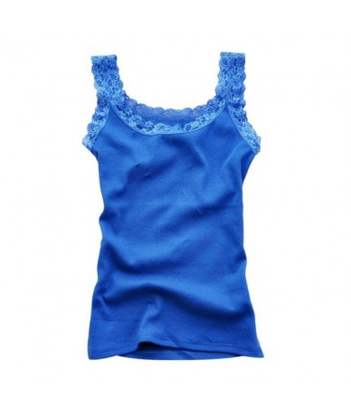 Women Sexy Solid Tank Tops Summer Multicolors Sleeveless Bodycon Temperament T-shirt Vest Fashion Lace Camisole Top - Blue -...