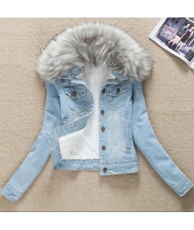 S-4XL Classic Women's Winter Jacket Fur Collar Denim Female Coat Plus Size Clothes Outerwear Women Warm Cashmere Jeans Jacke...