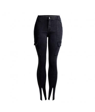 High Waist Skinny Jeans Woman Both Side Pocket Split Women Jeans Elastic Pencil Denim Pants - Black - 483078342895