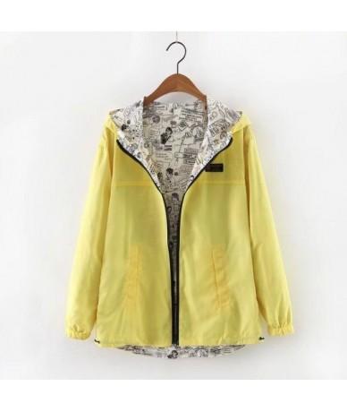 Autumn 2018 Women Jacket Coat Pocket Zipper Hooded Two Side Wear Cartoon Print Outwear Girls Green Loose Jackets - Gold - 4U...
