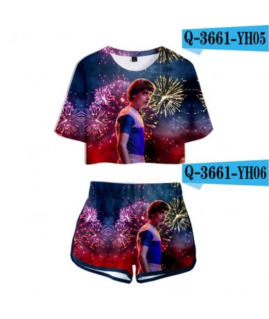 Stranger things 3D Print Hip hop Two Piece Sets Women Sexy Beautiful 3D Stranger things T Shirt+Shorts Women Cute Sets - 3D ...