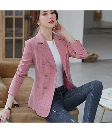 fashion pink Plaid blazer women England style girl jackets outwear Casual Coat plus size 5XL Soft thick fabric for winter - ...