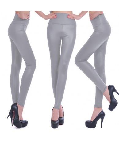 2019 New Women Sexy Leggings Faux Leather Stretch Legging High Waist Leggings Juniors Pants 4 size - NO19 Gray - 4B385861910...