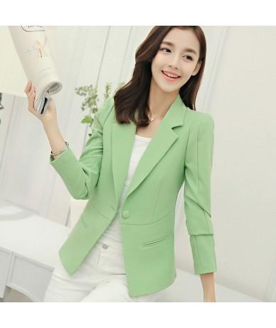 Ladies Blazer Long Sleeve Blaser Women Suit jacket Female Feminine Blazer Femme Pink Blue White Black Blazer - pea green - 4...