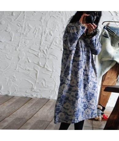 2017 women dress original printed loose cotton dress long sleeve robe cotton dress big size dress - Red - 4O3710790194-3