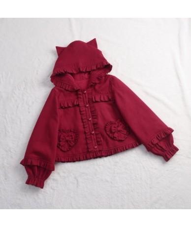 Sweet Mori Girl Winter Jacket Cute Cat Ear Hooded Lolita Jacket - Red - 443083842133-3