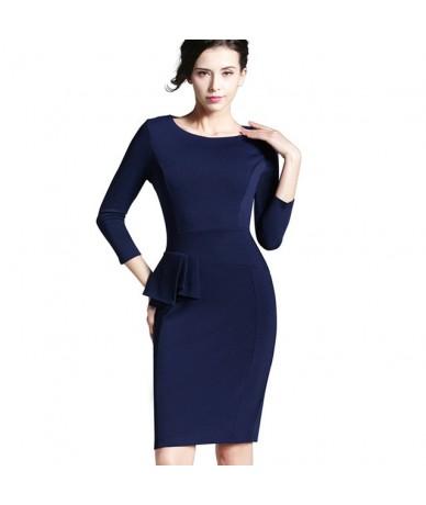 Career Female Peplum Work Dress 3/4 Sleeve O Neck Women Fashion Sheath Elegant Business Bodycon Pencil Dress b228 - Dare blu...
