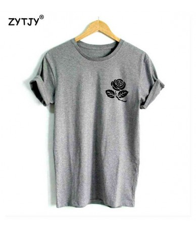 rose flower pocket Print Women tshirt Casual Cotton Hipster Funny t shirt For Lady Top Tee Tumblr Drop Ship BA-23 - Gray - 4...