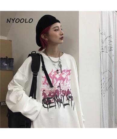 Harajuku Vintage Funny Character Anime letter print tee shirt Autumn streetwear Hip Hop Long Sleeve T-Shirt women men top - ...