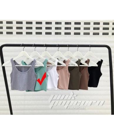 Good Quality Render Short Top Women Sleeveless U Croptops Tank Tops Solid Black/White Crop Tops Vest Tube Top 7 Colors - Col...
