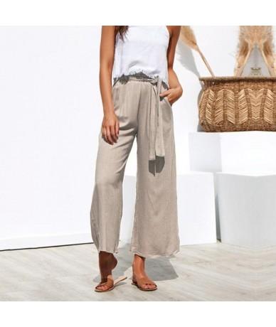 Casual High Waist Straight Pant Women Belted Wide Leg Capris Trouser Spring Summer Ankle-length Pants Female - Khaki - 4X307...