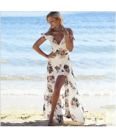 Floral print ruffles long dress Women strap v neck split beach summer Dresses Off the shoulder vestidos - White - 4L3805445083