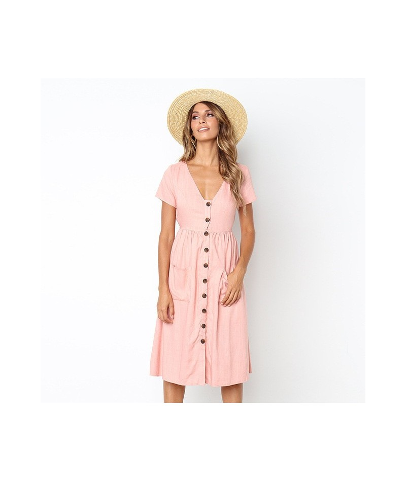 2019 Women's Fashion Casual Beach Short Sleeve Summer Dress Tunic V Neck Button Midi Dress With Pocket Vintage Solid Dress R...