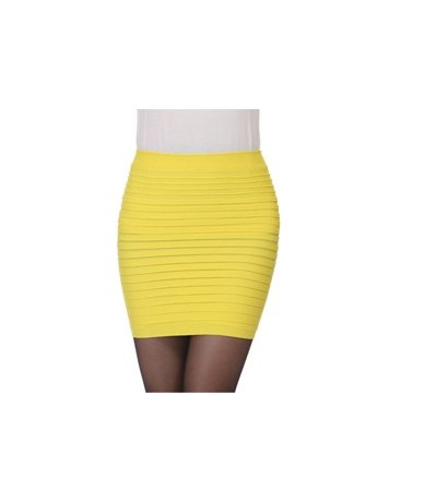 Cheapest New Fashion 2019 Summer Women Skirt High Waist Candy Color Plus Size Elastic Pleated Sexy Short Skirt - yellow - 45...
