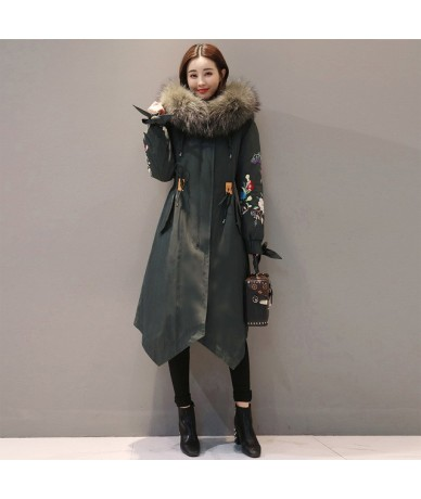 Chinese National Style Clothes Down Cotton Coat Female 2019 Outerwear Winter Jacket Women Vintage Embroidery Parka Femme A46...