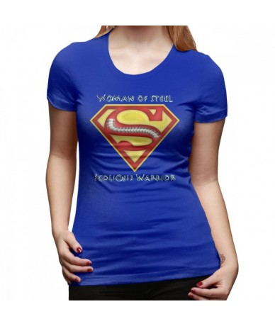 Strong Woman T-Shirt Woman Of Steel - Scoliosis Awareness T Shirt Oversize Print Women tshirt O Neck Ladies Tee Shirt - Blue...