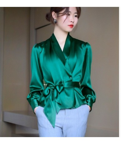 Elegant Lady V-neck satin OL Blouses Faux Silk Shirts waist tie bowtie High Waist Cardigan long-sleeved Stitching Sashes Top...