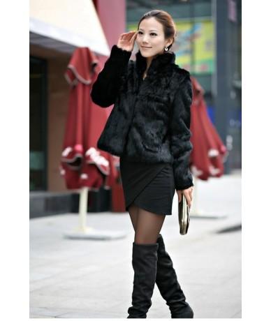 2019 New Genuine Rabbit Fur Coat women full pelt rabbit fur jacket Winter Fur Overcoat customized big size Stand Collar FP26...