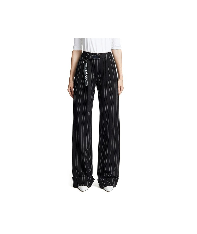 Simple Commute Slimming Trousers Temperament Loose Casual Striped Mid-rise Wide-leg Pants - Multi - 4B3074614061