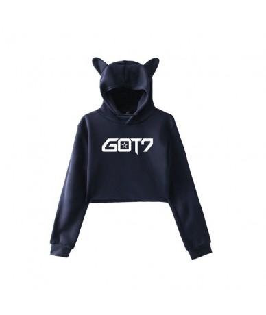 New Arrival K-pop Got7 Letter Print Hoodies Women Cure Ear Hood Design Girl Sweatshirt Kpop Autumn Streetwear Clothing - nav...