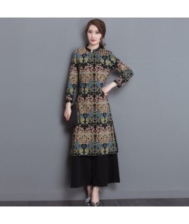 New arrive Female Fashion Printed Retro casual Long sleeves Dress Two-piece Wide-legged Pants Fashion casual qualities Suit ...