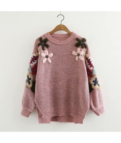 Spring Winter Women Warm Sweater pullover hand-made nail bead flower embroidery O-Neck Femme Knitwear Outwear send soon - Pi...