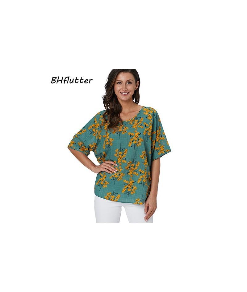 Blouse Women New Style Dandelion Print 100% Cotton Summer Shirts Short Sleeve Casual Blouses Tops chemise femme 2019 - pictu...
