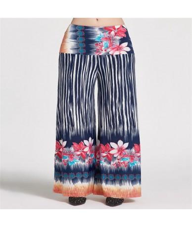 Fashion Women Floral Printed Wide Leg Pants Summer Casual High Waist Pants Fashion Trousers Loose Pantalones Plus Size Xl - ...