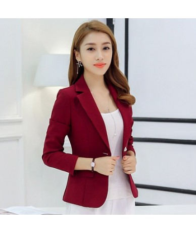 Grey Wine Red Navy Blue Ladies Business Suit 2018 Spring Autumn Slim Short Blazer Jacket Single Button Blazers Women Casual ...