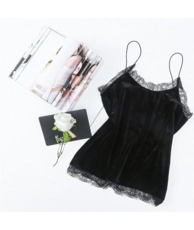 Fashion Elegant Sexy Lace O-neck Velvet Crop Tops 2018 Summer Women Sleeveless Slim Velour Short Camisoles Ladies Tank Top W...