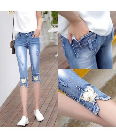 Stretch Skinny Capris Jeans Woman Summer 2019 Female Ripped Hole Calf-Length Denim Pants Jeans Capri For Women Jean Femme - ...
