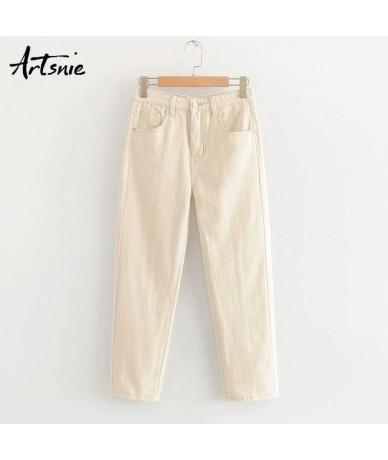 autumn 2019 boyfriend jeans pants women high waist pockets streetwear casual beige denim loose harem pants mujer - Beige - 5...