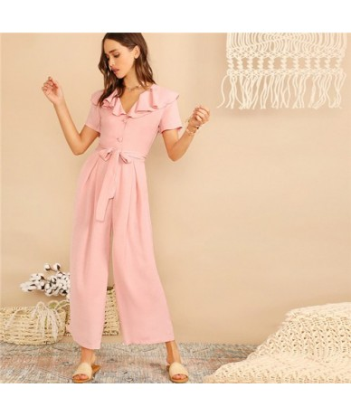Pink Casual Ruffle Trim Half Placket Belted Wide Leg Jumpsuit Women Summer Vacation V neck Short Sleeve Solid Jumpsuit - Pin...