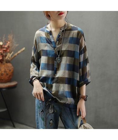 Thin Breathable Ramie Shirt Loose Button Femme Tops Three Quarter Sleeve Literary Mori Girls Women Plaid Blouse Casual Cloth...