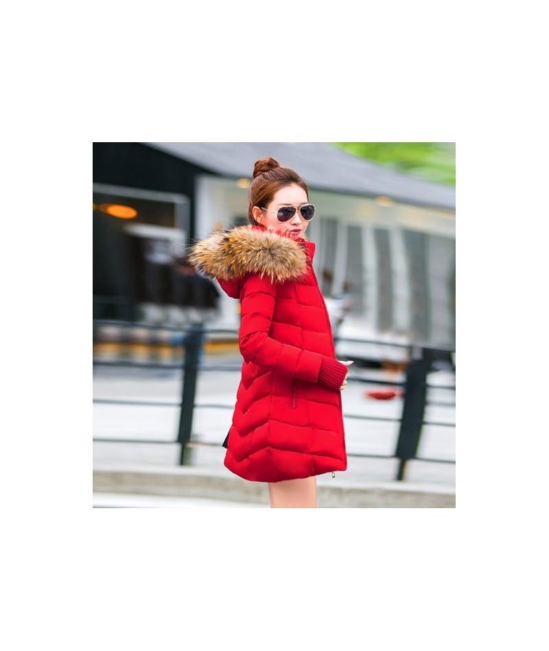 winter jacket women female coat 2019 woman parka long sleeve hood Slim keep Warm Fur collar white manteau femme hiver - red ...