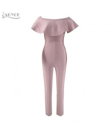 2019 New Fashion Autumn women Rompers Bodysuit Slash Neck Ruffles Full Length Celebrity party Bandage Jumpsuit wholesale - A...