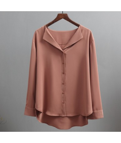2019 autumn new solid women chiffon blouse office lady v-neck button loose casual solid female shirts outwear tops - brown -...