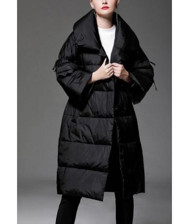 Women Winter Jacket 2018 New V-neck Fashion Loose Parka Women Winter Coat Warm Thicken Long Three Quarter Overcoat - Black -...