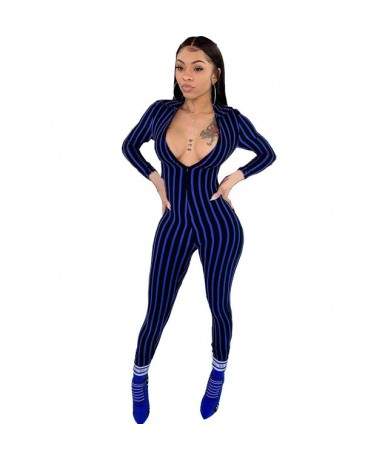 new sexy deep v neck striped long sleeve skinny women jumpsuits rompers pants - Blue - 5E111225104942-2