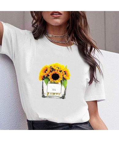 Women Clothes Print Flower Perfume Bottle Sweet Short Sleeve Tshirt Printed Women Shirt T Female T-shirt Top Casual Woman Te...